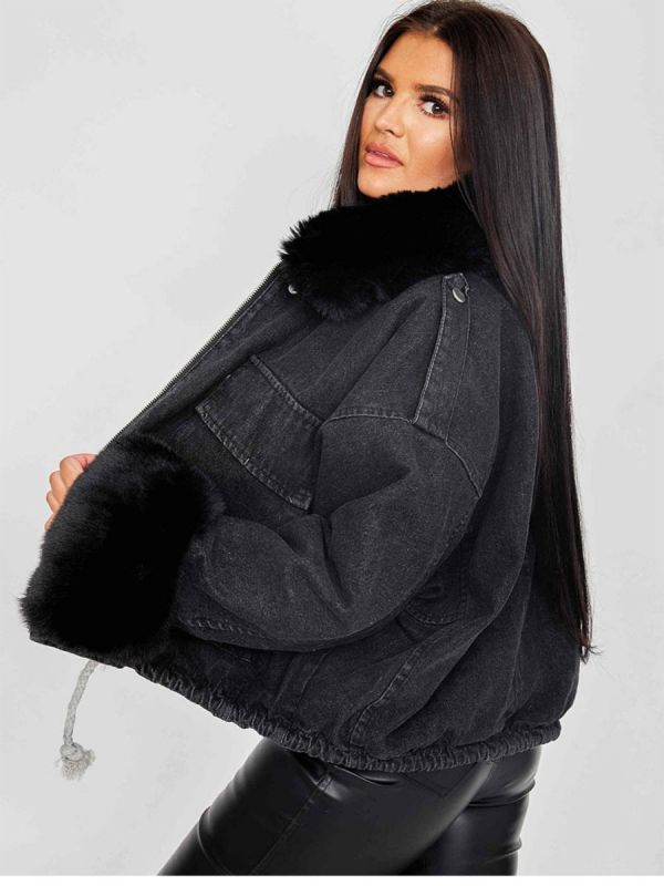 Nella Oversized Faux Fur Lined Denim Jacket In Black