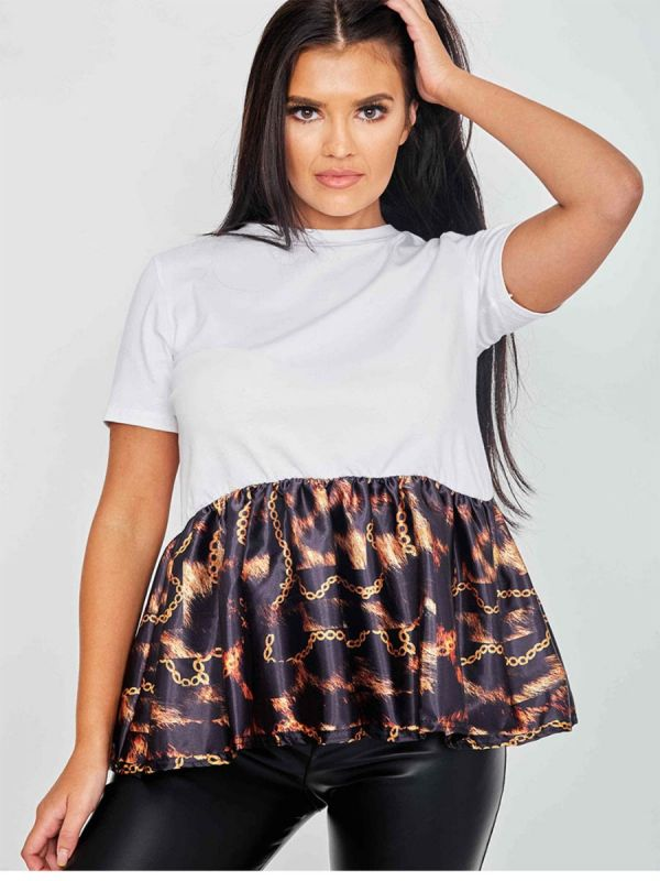 Liv Fire Chain Print Frill Hem Top In White
