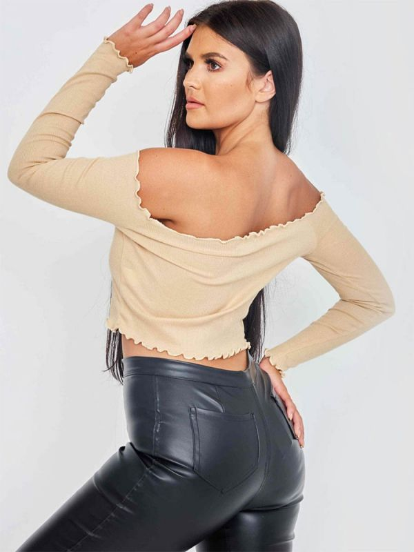 Janet Frill Detail Ribbed Bardot Crop Top In Stone