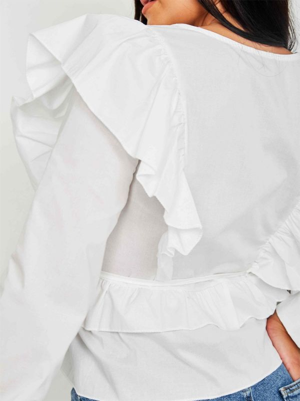 Caroline Wrap Front Ti Knot Frill Top In White