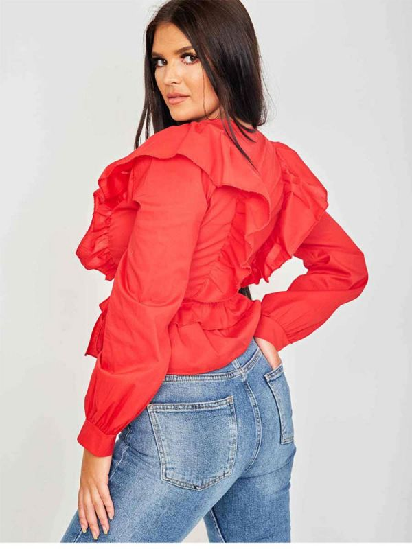 Caroline Wrap Front Ti Knot Frill Top In Red
