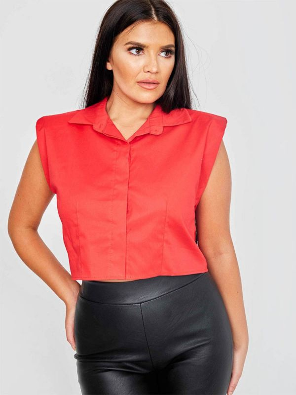 Tammy Padded Shoulder Cropped Shirt Blouse In Red