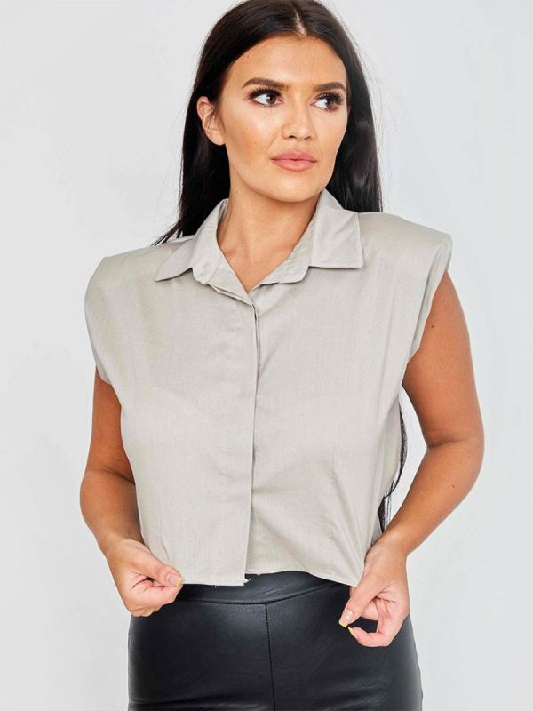 Tammy Padded Shoulder Cropped Shirt Blouse In Stone