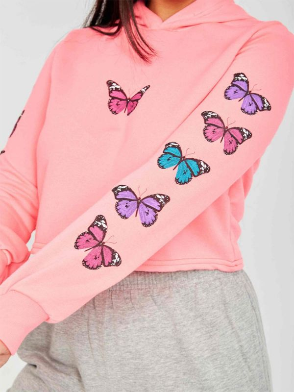 Paula Butterfly Graphic Print Cropped Hoodie In Neon Pink