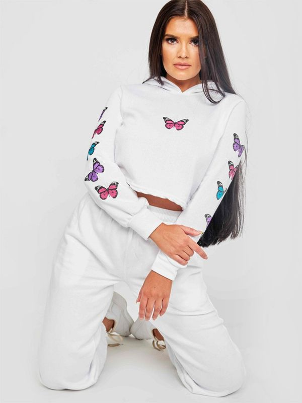 Paula Butterfly Graphic Print Cropped Hoodie In White