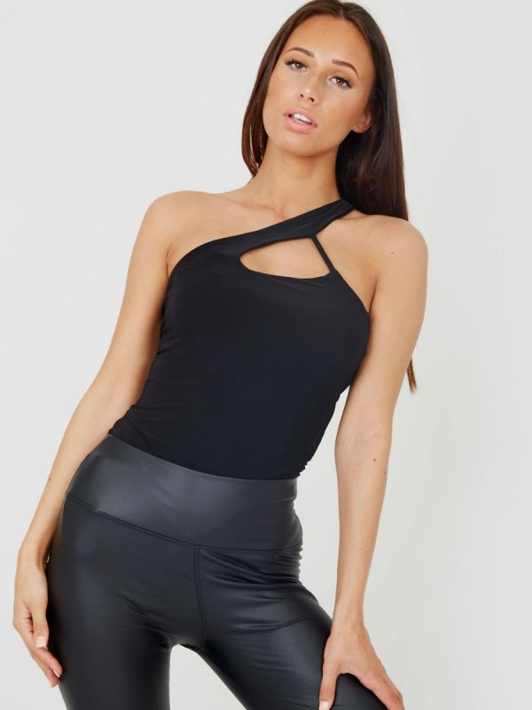 Suzy One Shoulder Cut Out Bodysuit In Black