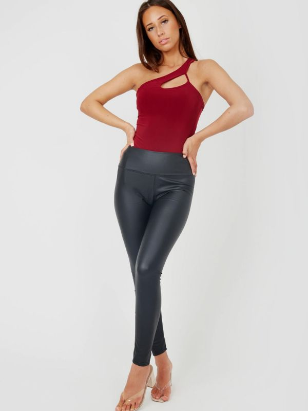 Suzy One Shoulder Cut Out Bodysuit In Wine