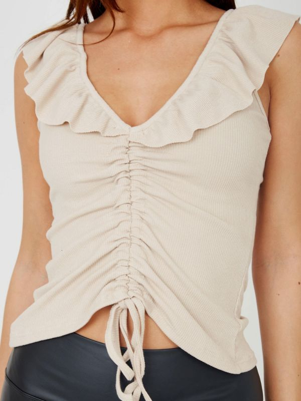 Natalie Frill Neck Ruched Ribbed Top In Stone