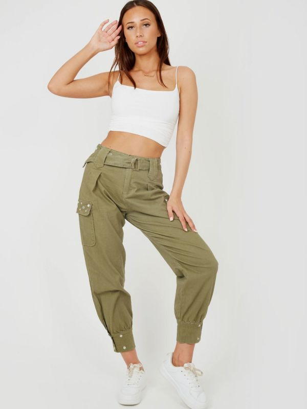 Tracy Studded Utility Pocket Belted Canvas Trouser In Khaki