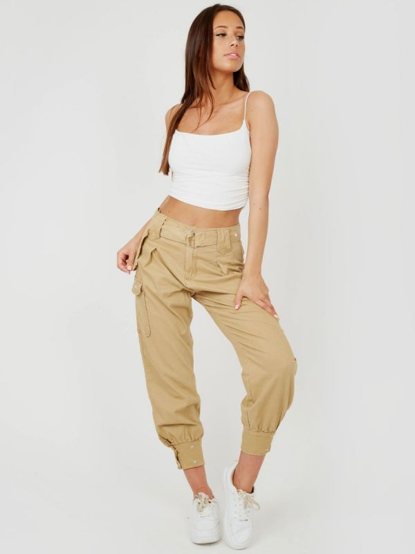 Tracy Studded Utility Pocket Belted Canvas Trouser In Stone