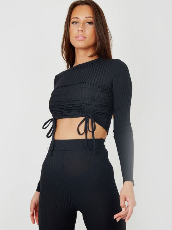 Donna Double Ruched Crop Top & Trouser Ribbed Co-ord In Black