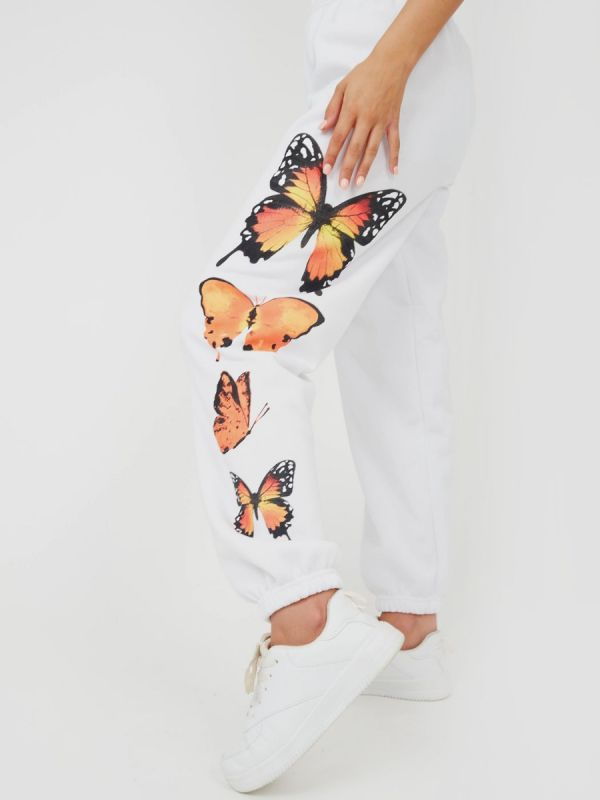Machela Butterfly Graphic Oversized Fleece Joggers In White