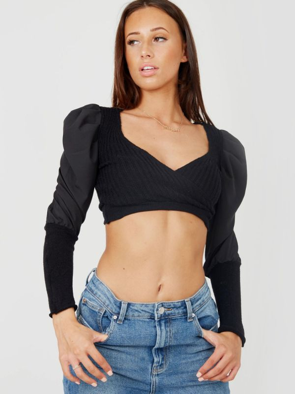 Megan Wrap Front Knitted Ribbed Crop Top In Black