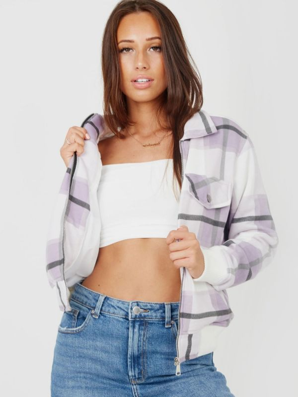 Alicia Zipped Classic Thick Colour Block Checked Shacket In Lilac