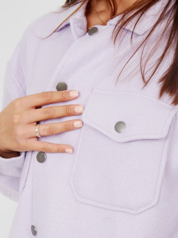 Leah Plain Classic Thick Shacket In Lilac