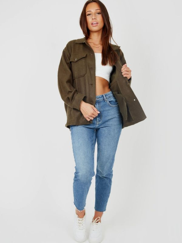 Leah Plain Classic Thick Shacket In Khaki