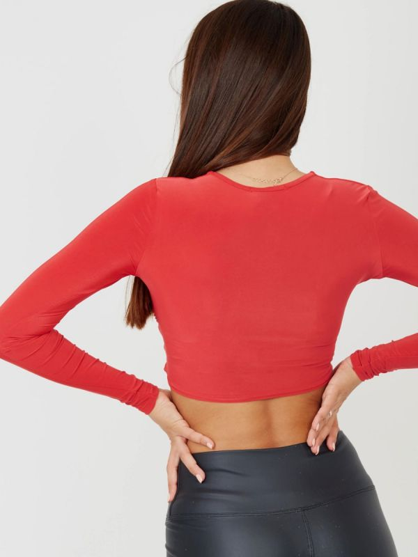 Margaret Square Neck Slinky Ruched Crop Top In Red